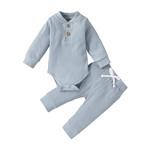 Toddller Baby Girls Boys Ribbed Outfit Clothes Plain Romper Playsuit...