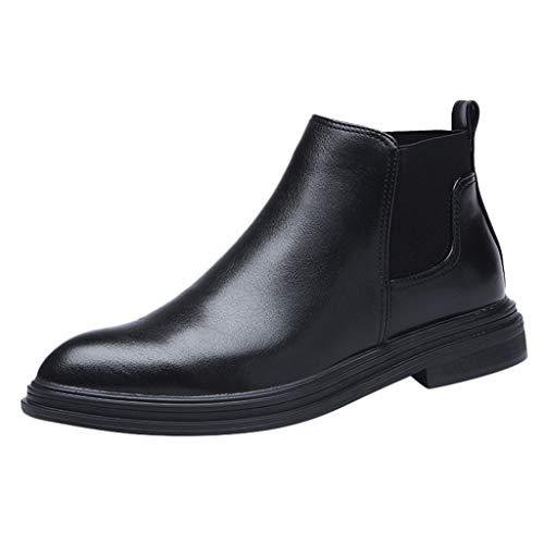 DOLDOA Lederschuhe für Herren,Herrenmode Westernstiefel Lässige Bequeme Schuhe mit niedrigen Absätzen High-Top-Anzugschuhe Schwarz Braun