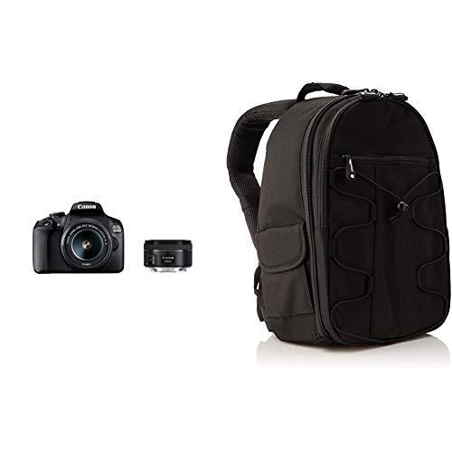 Canon EOS 2000D Spiegelreflexkamera (24,1 MP, DIGIC 4+, 7,5 cm (3,0 Zoll) LCD) inkl. Objektive EF-S 18-55mm schwarz & Amazon Basics DSLR-Kamerarucksack für Spiegelreflexkameras und Zubehör schwarz