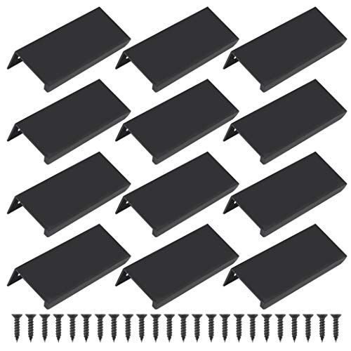 "Lystaii 12pcs Black Mount Finger Edge Pull Handles, 80mm/3.15"" Aluminum Concealed Handle Cabinets Drawers Handle Tab for Home Kitchen Door Drawer Cabinet Knobs Wardrobe Pulls"