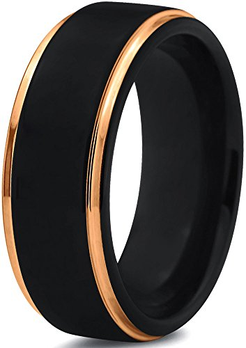 Midnight Rose Collection Tungsten Wedding Band Ring 8mm for Men Women 18k Yellow Gold Plated Step Edge Black Brushed Polished Size 8.5