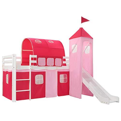 vidaXL Cama Alta para Niños Tobogán y Escalera Madera Pino 208x230 cm Somier Mueble Mobiliario Dormitorio Habitación Infantil Hogar