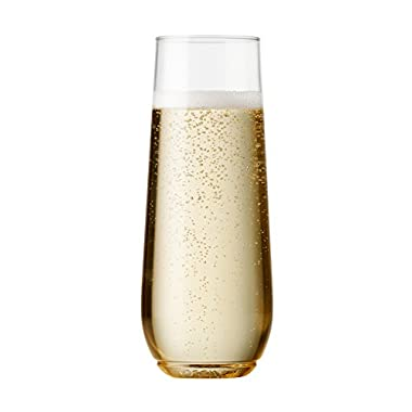 TOSSWARE 9oz Flute - recyclable champagne plastic cup - SET OF 12 - stemless, shatterproof and BPA-free flute glasses