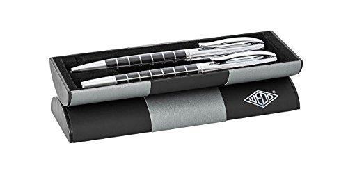 Wedo 260451326 Schreibset - Kugelschreiber und Füllhaler (Mirac kariert im Geschenketui) schwarz/chrom