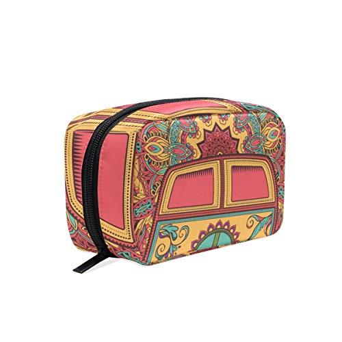 Trousse de maquillage embrayage pochette cosmétique symbole de la paix floral bus