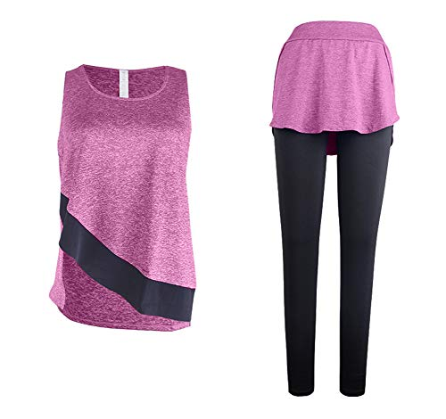 EverNight Dames Yoga Kleding Tweedelig Pak Fitness Sportkleding Nep Twee Broeken + Running Vest Gym Pilates Broek Leggings T-Shirt Sportkleding