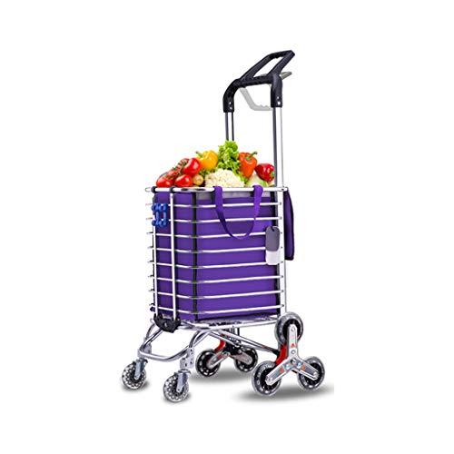 Carro de Compras Plegable de Aluminio, Rueda Triangular Enrollable de Gran Capacidad de 35L Trolley de Dos manijas giratorias 360 °, Carga Fuerte, Tienda de comestibles para Subir escaleras