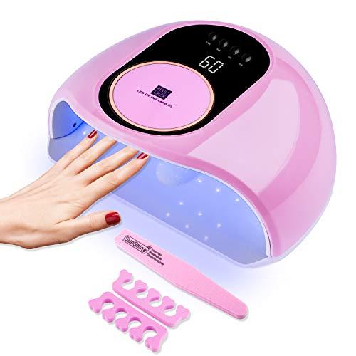 168W Nageltrockner, RaMokey LED UV Lampe für Gelnägel, mit 4 Timer, Abnehmbarer Tragbarer Nagellampe für Fingernagel und Zehennagel