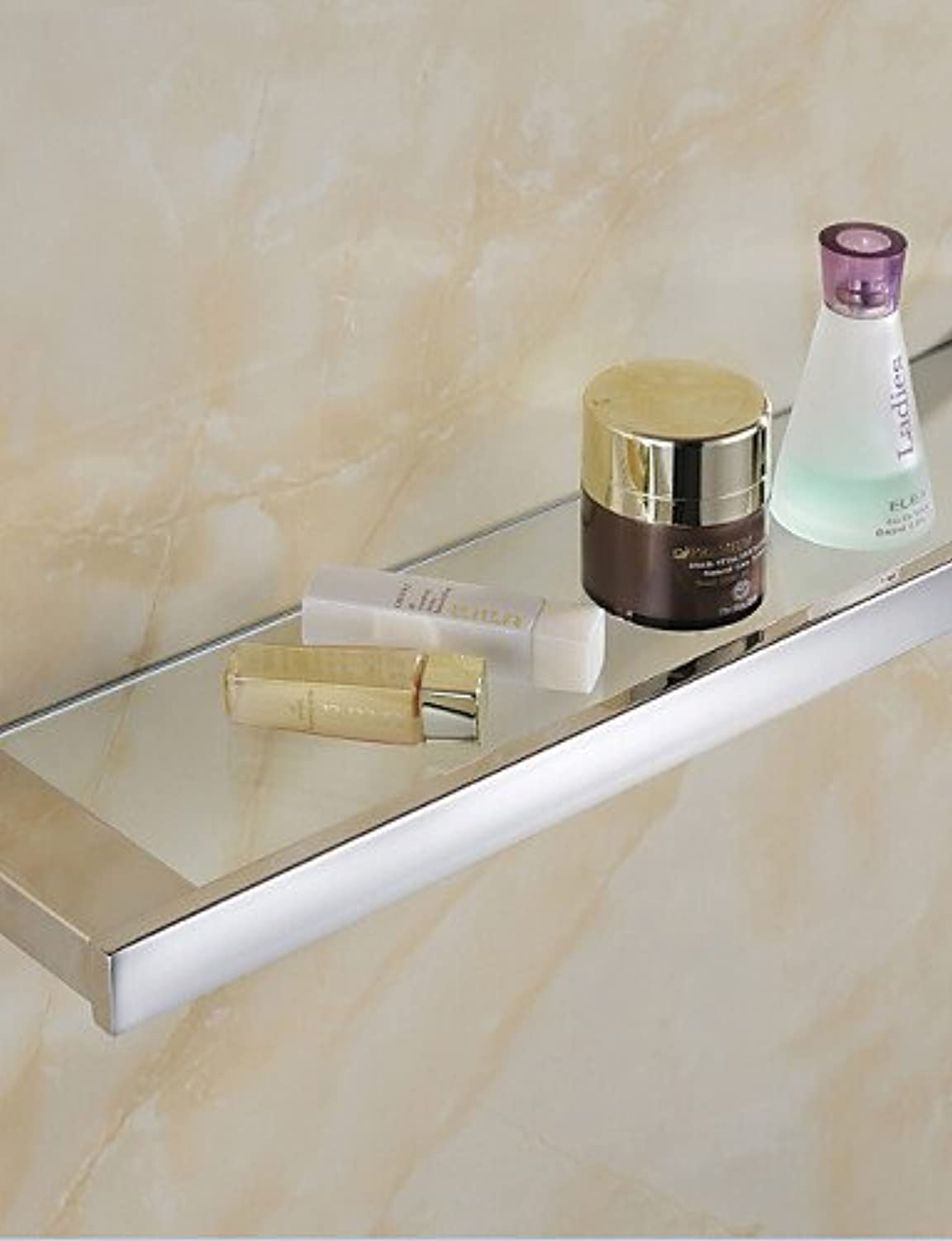 KHSKX Bathroom Shelves,Contemporary Mirror Polished Finish Stainless Steel Material Glass Shelf,Bathroom Accessory