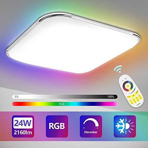 Hengda 24W LED Deckenleuchte, Dimmbar, RGB Farbwechsel, Farbtemperatur Einstellbar, Deckenlampe mit Fernbedienung, 2160LM, Wohnzimmer Lampe für Bad, Schlafzimmer, Küche, IP44