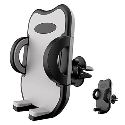 OHFUER Soporte Móvil Coche Ventilación Soporte Porta Télefono para Rejilla del Aire Universal 360° Rotación Ajustable Sujeta Movil Coche para Smartphones de 3,5 a 6,8 Pulgadas - Gris