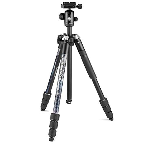 Manfrotto Element MII MKELMII4BK-BH, Lightweight Aluminium Travel Camera Tripod, with Carry Bag, Arca-Compatible Ball Head, 4-Section Legs, Twist Locks, Load up 8kg, for Mirrorless, DSLR