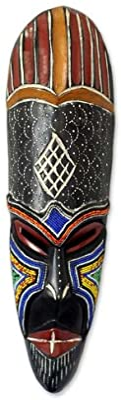 Amazon Com Novica Handcrafted Nigerian Beaded African Rubberwood Wall Mask God S Bounty Home Kitchen