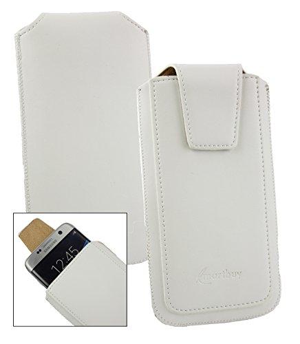 Emartbuy® Sleek Bereich Weiß PU Leder Slide in Hülle Tasche Sleeve Halter (Größe LM2) Mit Zuglasche Mechanismus Geeignet Für Slok C3 Dual SIM Smartphone
