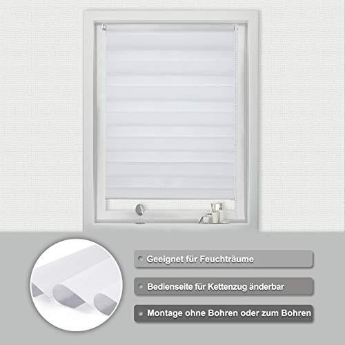 BuSeu Doppelrollo Klemmfix ohne Bohren Weiß 75x150(BXH) Duo Rollo Sichtschutz Seitenzugrollo Sonnenschutz Klemmrollo Easyfix Rollos für Fenster&Tür