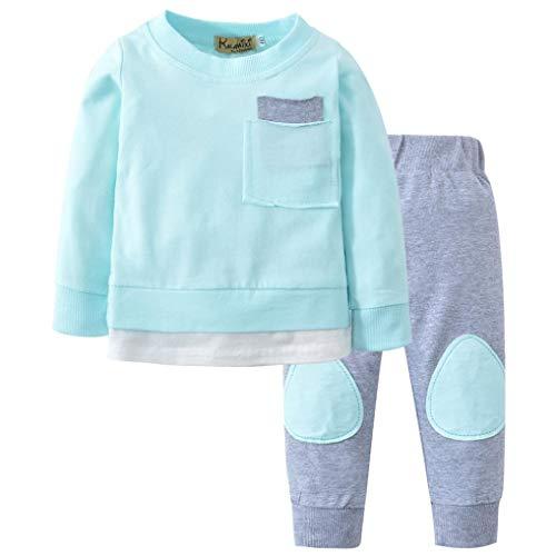 K-youth Ropa Bebe Niño Otoño Invierno 2018 Ofertas Infantil Pijama Recien Nacido Bebé Niña Sudaderas Manga Larga Camisetas Blusas + Pantalones Largos Conjuntos De Ropa(Azul, 18-24 Meses)