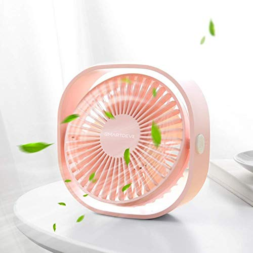 ZYMQ Portable Cooling USB Desktop Fan 3 Speed Personal with 360 Rotation Adjustable Angle for Office Household Traveling,Pink