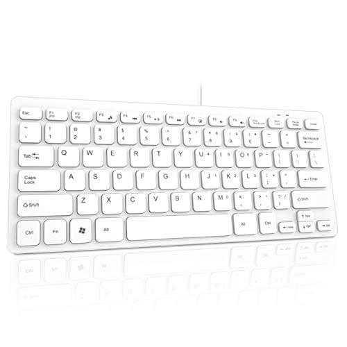 Binken Tastatur, kabelgebundene USB Mini Tastatur für Windows 10/8/7 / Vista/XP und Android Smart TV, Plug-and-Play, besonders Lange Akkulaufzeit, Tastaturlayout in Großbritannien (White)