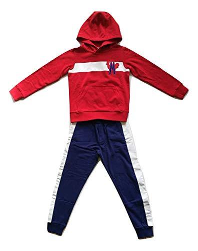 Moncler Junior Tuta Completo Felpa + Pantaloni da Bambino Blu e Rosso 10 Anni