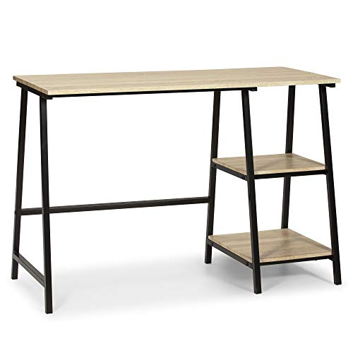 VS Venta-stock Mesa de Escritorio Lisboa Negro, Mesa de Ordenador, Estilo Industrial, 105 x 47 x 75 cm