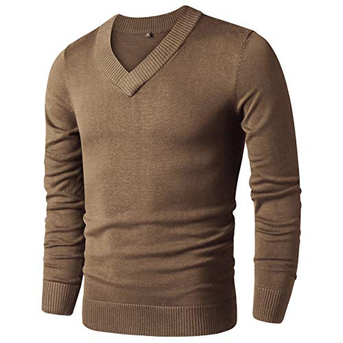 LTIFONE Sweaters for Men,V Neck Slim Comfortably,Knitted Long Sleeve(Brown,L)