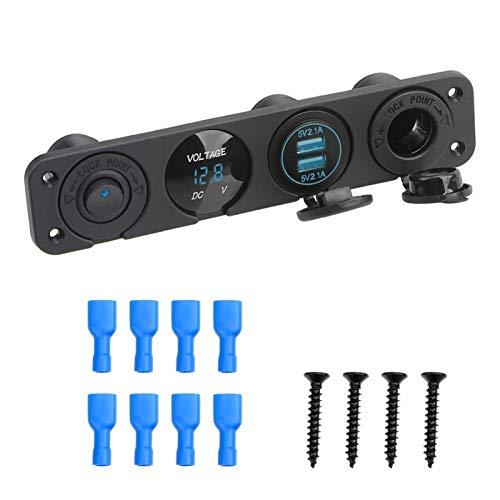 MeiZi 4 en 1 Coche Encendedor de Cigarrillos Doble USB Cargador de energía con Interruptor de Rocker a Prueba de Polvo Impermeable Voltímetro Digital 12V Toma de Corriente (Color : Blue)
