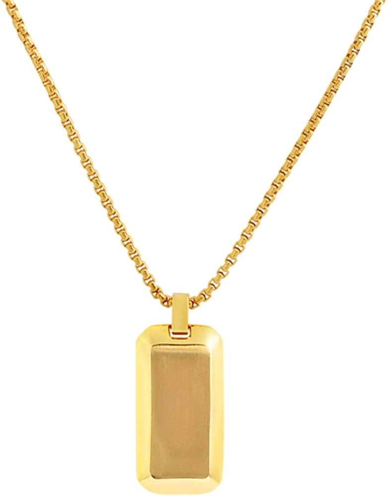 Geoffrey Beene Stainless Steel Men's Angled Edges Dog Tag Necklace