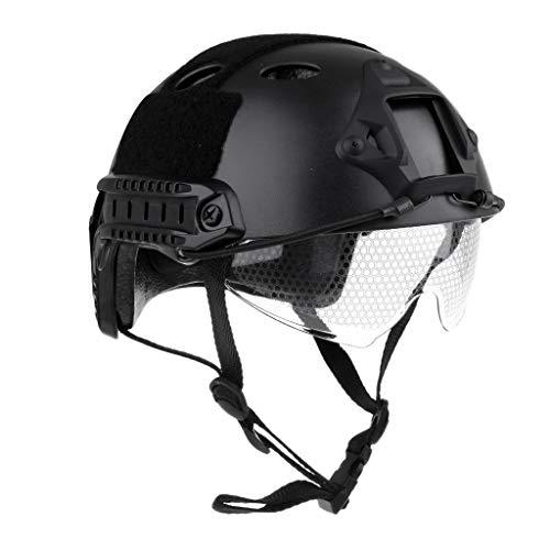 Tubayia Leichtbau Taktische Schnelle Schutz Helm mit Einziehbare Visier für Airsoft Paintball (Schwarz)
