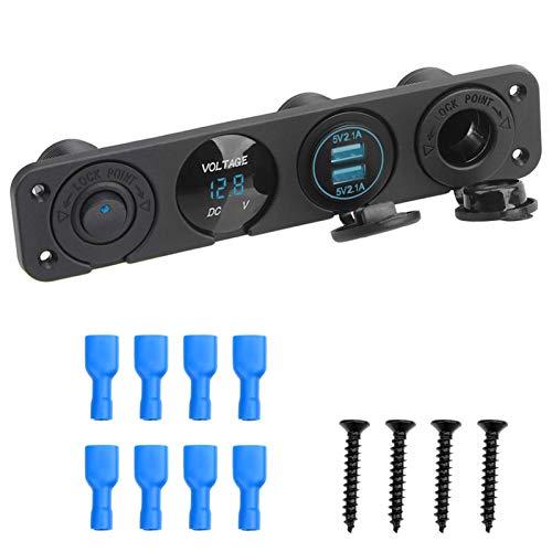WEIMEIDA QCLJ0413 - Cargador USB multifunción doble para encendedor de cigarrillos de coche, 12 V, interruptor basculante, voltímetro digital, piezas de repuesto (color: azul)