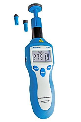 Peak Tech P 2795 – Digitales Drehzahl Messgerät mit 5-stelliger 13 mm LCD Anzeige & Laser, Tacho Meter, Geschwindigkeits Messung, Gummi Schutz, Automatische Bereichswahl, Batterie Anzeige - 160g