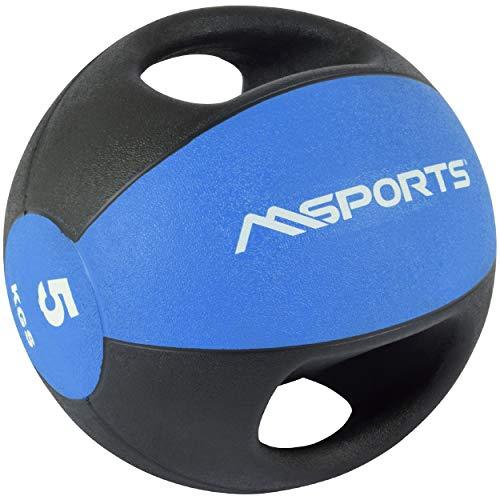 MSPORTS Medizinball Premium mit Griffe 1 – 10 kg – Professionelle Studio-Qualität Gymnastikbälle (5 kg - Blau)
