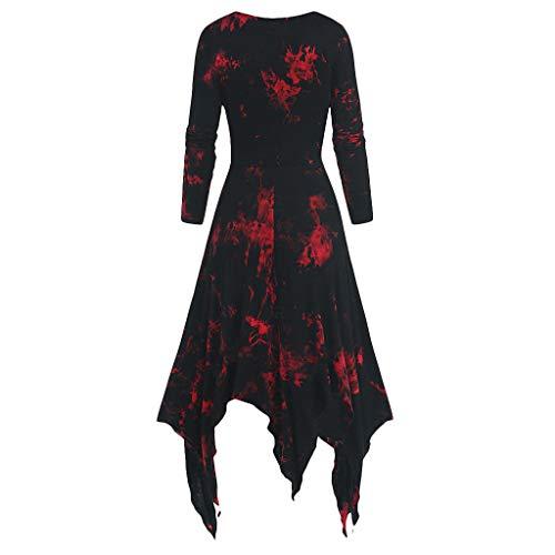 YANFANG Vestido de Mujer,Tallas Grandes con Estampado Tie-Dye Vestido gótico de Handkerchi con Cordones y Manga Larga Falda de Fiesta de Negocio Elegante Atractivo