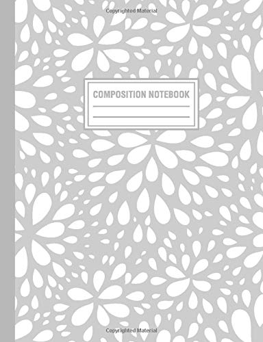 Composition Notebook: Gray Floral Flower Boom Pattern Composition Book For Students College Ruled