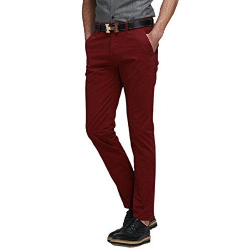 Pishon Men's Chino Pants Solid Cotton Flat Front Regular Fit Straight Casual Pants, Wine Red, Tagsize48=Ussize46