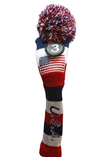 USA Majek #3 Hybrid Golf Pom Pom Knit Rescue Utility Club Head Cover