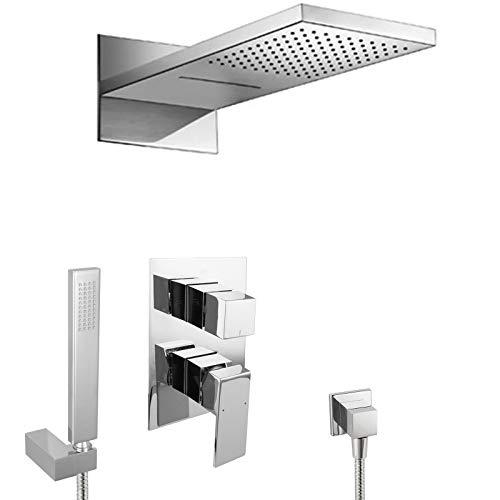 PaulGurkes Unterputz Wasserfall Regendusche Dusche Duschset eckig Duschsystem mit Handbrause Tropendusche UP-Dusche 3-Wege Regenbrause Komplett Set Einbaufertig Luxus Dusche Duschtempel Traumdusche