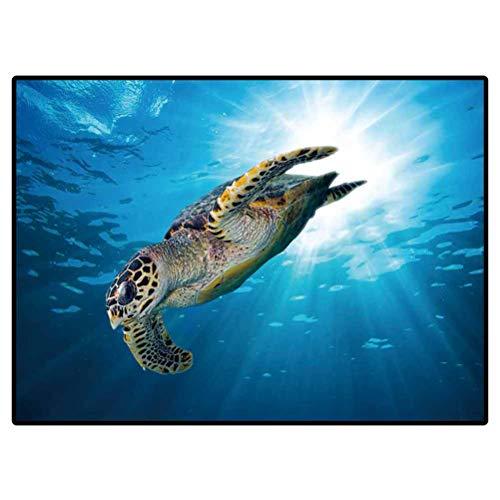 Modern Toilet Carpet Rug Non-Slip Floor Mat Hawks Bill sea Turtle Dive Down into The deep Blue Ocean Against The Sunlight Indoor Outdoor Carpeting 4 x 5 Ft
