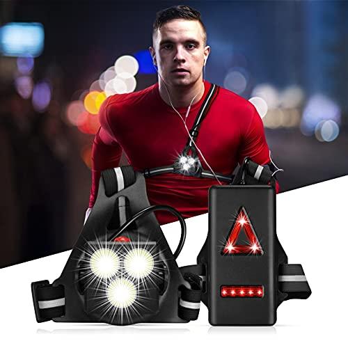 Luz para Correr Running con Recargables USB Impermeable, Luz Led Frontal Correr, Lámpara 3 Modos 1000 Lúmenes, con Cinta reflectante, Liviano, Cómodo e Ideal para Trotar, Competir (Black)