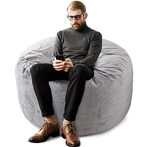 FASO Bean Bag Chair: 3' Giant Memory Foam-Filled Furniture Bag - Stuffted Bean Bag Sofa with...