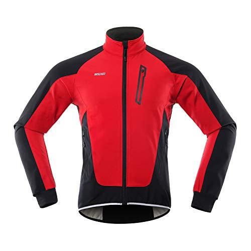 Lixada Herren Fahrradjacke, Wasserdicht Winddicht Thermal Fleece Fahrradtrikot MTB Fahrradfahren Laufen Herbst Winter Jackenmantel für Radfahren Laufen Bergsteigen
