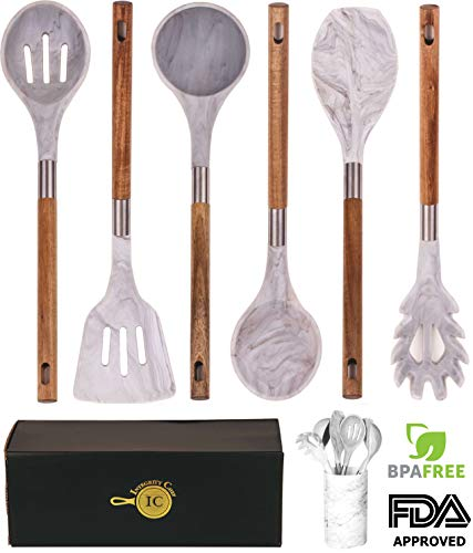 BRAND NEW! Marble Silicone Kitchen Utensil Set by Integrity Chef with Utensil Holder - Gorgeous Kitchen Utensils Cookware Set Made With Premium Acacia Wood   Cooking Utensils Set Wedding Registry Gift