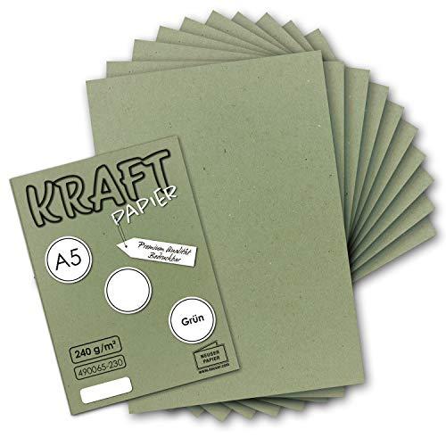 Papel de estraza vintage, DIN A5, 21 x 14,8 cm, 250 g/m² de papel reciclado marrón natural, 100% ecológico, color verde 50 Bogen