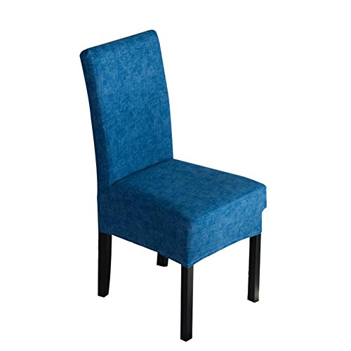 HUVE Dining Chair Covers, Dining Chair Protective Cover Linen solid Color Chair Cover All-Inclusive Chair Cover Stretch Cover, Restaurant, Restaurant, Restaurant, Hotel General Navy Blue