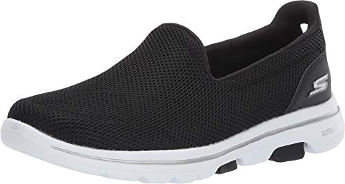 Skechers Damen Go Walk 5 Slip On Sneaker, Schwarz (Black Textile/White Trim Bkw), 36 EU (3 UK)