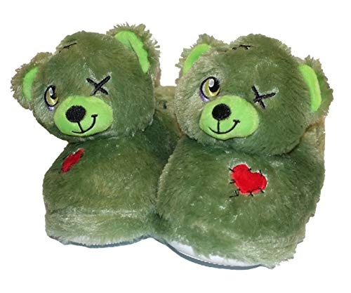 Build A Bear Build-A-Bear Assorted Kids Cute Slip-On Slippers (Large 1-2, Zombie Bear Green)