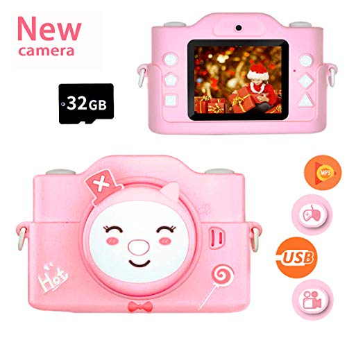 Flyalcon Kids Camera,12MP HD Children Camera with 2.0-Inch IPS Screen,Best Birthday Gifts for Boys,Girls Age 3-10,Kids Digital Cameras for Toddler, MP3 Player for Girls 32GB SD Card(Include)-Pink