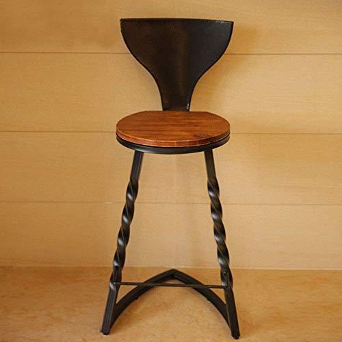 YO-TOKU Barhocker Industrie Gastronomie Barhocker Stühle mit Rückenlehne for Bistro Esszimmer Küche Personality Bar-Stuhl (Farbe: Schwarz, Größe: 103cm) Stühle Wohnzimmermöbel