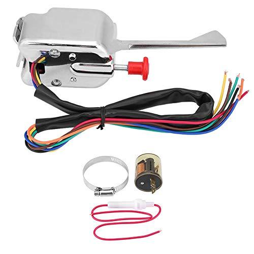 Yctze Interruptor de señal de giro, interruptor de señal de giro Universal Street Hot Rod de 12 V + intermitente