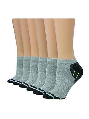 Hanes Women's 6-Pack Sport Cool Comfort No Show, Grey Heather/Charcoal Heather Assortment, Shoe Size: 5-9