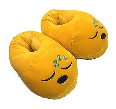 Emoji Hub Women's Smiley Emoji Indoor Plush Bedroom Slipper Free Size with 9 Months Warranty Yellow